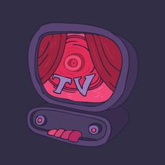 crazy tv, cartoon TV set,