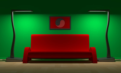 Red Sofa and yin - yang