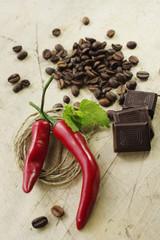 Rustikales hot Chili Bild mit Kaffee