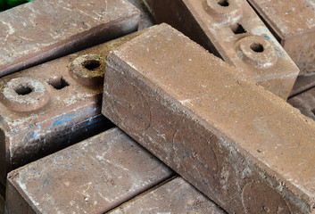 Brown concrete construction blocks