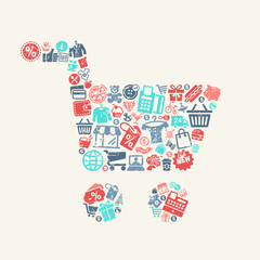 Cart with the background pattern with shopping  icons