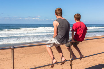 Boys Overlooking Beach Ocean Holidays