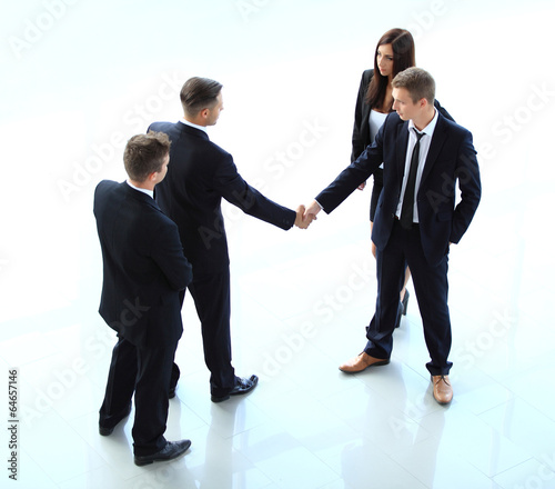 Top view of businessman shaking hands
