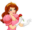 beautiful princess with brown hair holding a red rose