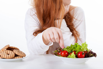 Girl making healthy diet choices