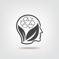 Think recycle sign icon