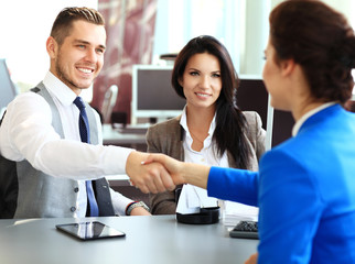 Business handshake. Business people shaking hands