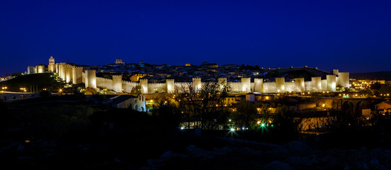 Walls of Avila Spain, night