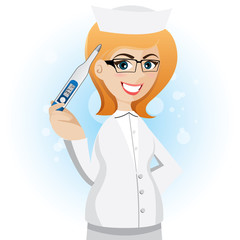 cartoon nurse with thermometer