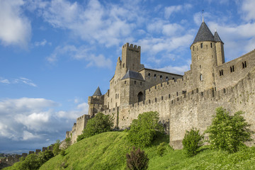 View of the ancient city of Carcassonne, France