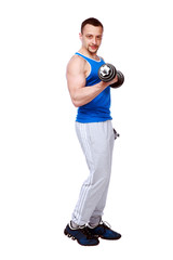 muscular man working out with dumbbells on white background