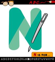letter n with needle cartoon illustration