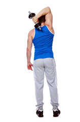 sport man standing with dumbbells over white background