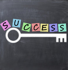 success key concept text on blackboard and adhesive hotes