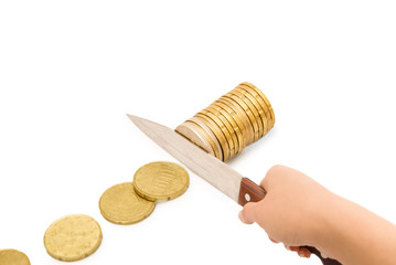 Concept of budget cuts, savings, recession