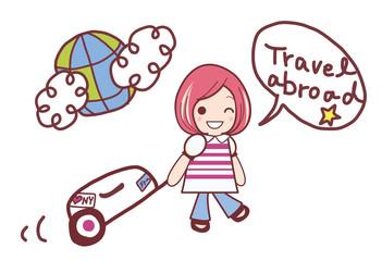 海外旅行へGO  女の子のベクターイラスト