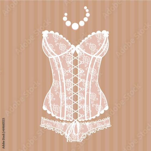 Vintage sexy guipure corset - 64660533