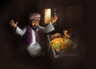 Arabic man discovering treasure - funny paint illustration