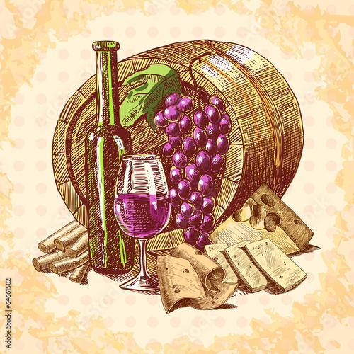 Wine cheese emblem