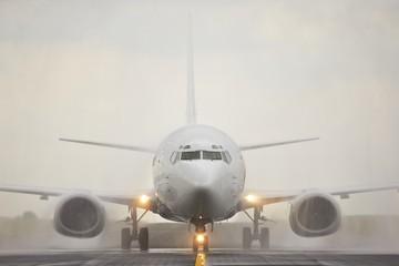 Landing in rain