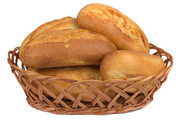 buns in the bread basket on white background