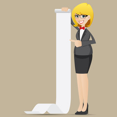 cartoon businesswoman with roll of paper