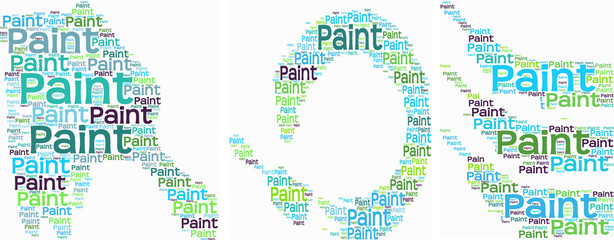 Typography of three paint brushes with paint trails