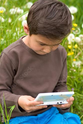 canvas print picture Junge beim Nintendo spielen im Garten 2
