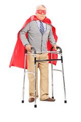 Mature superhero walking with walker