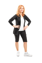 Mature woman with cyclist shorts posing