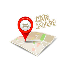 Map red pointer my car isolated design