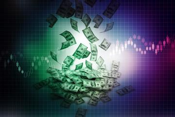 Dollar rain, stock market, Flying banknotes of dollars
