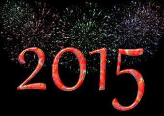 2015 mit Feuerwerk auf schwarz