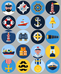 Vector Flat  Nautical Icons