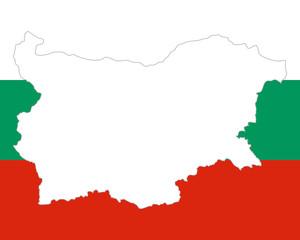 Karte und Fahne von Bulgarien