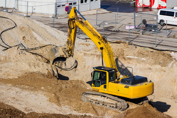 excavator on construction site during earthworks