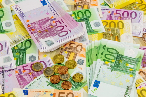 canvas print picture many different euro bills