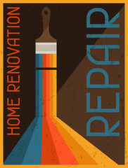 Home renovation repair. Retro poster in flat design style.