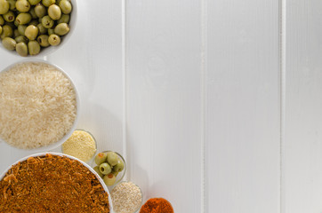 Spices on white wood