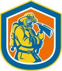 Fireman Firefighter Holding Fire Axe Shield