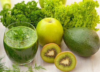 Healthy green fruit and vegetable smoothie