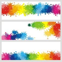 3 Banner mit Farbklecksen