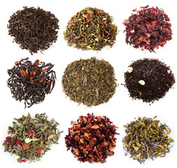Collage of aromatic dry tea isolated on white