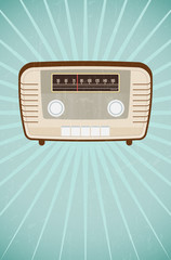 Vintage radio on retro grungy background