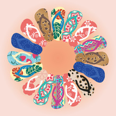 Summer colorful flipflops in circle isolated