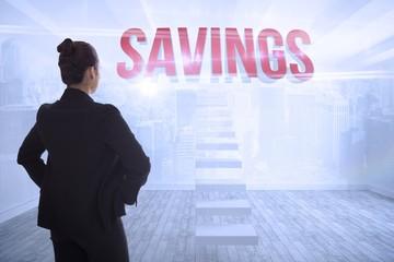 Savings against city scene in a room