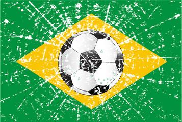 Grunge Brazilian Football Flag