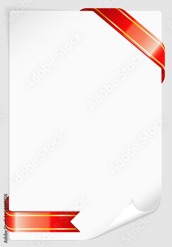 Sheet of white paper with Ribbon