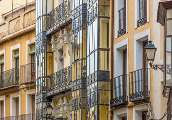 Spain, Toledo, facades of houses in the evening light