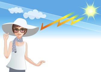 紫外線 UV 光線 女性 Young woman wearing a hat to protect from sunlight